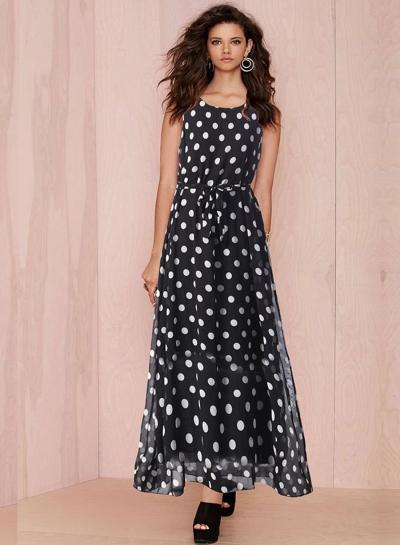 Fashion Sleeveless Polka Dots Maxi Dress