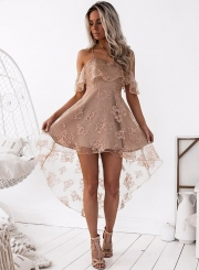 Off Shoulder Short Sleeve Lace High Low Party Dress