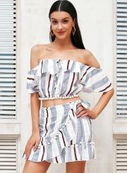 Women's Fashion Stripe Off Shoulder 2 Piece Skirt Set Dress Outfit