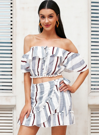 Women's Fashion Stripe Off Shoulder 2 Piece Skirt Set Dress Outfit