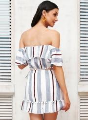 02599c76cb ... Women's Fashion Stripe Off Shoulder 2 Piece Skirt Set Dress Outfit ...