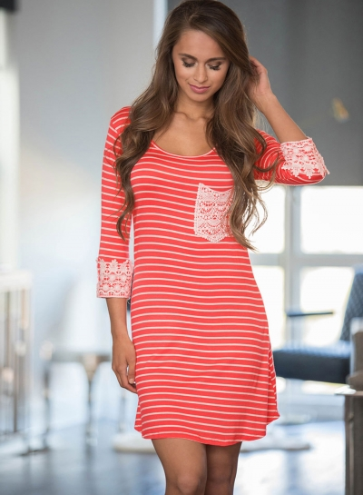 Casual 3/4 Sleeve Stripe Dress with Pocket