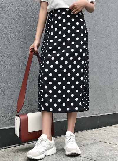 High Waist Polka Dots Midi Skirt