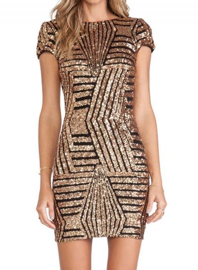 Fashion Backless Bodycon Sequins Mini Dress