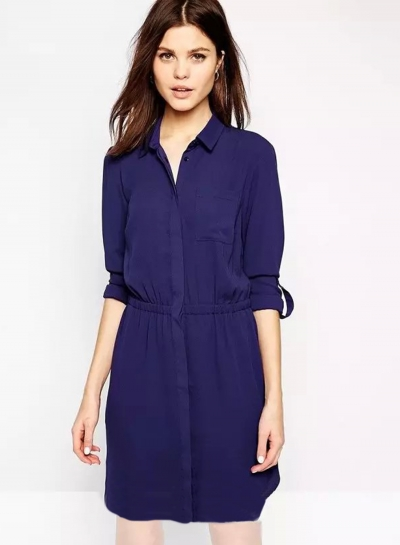 Long Sleeve Elastic Waist Shirt Dress