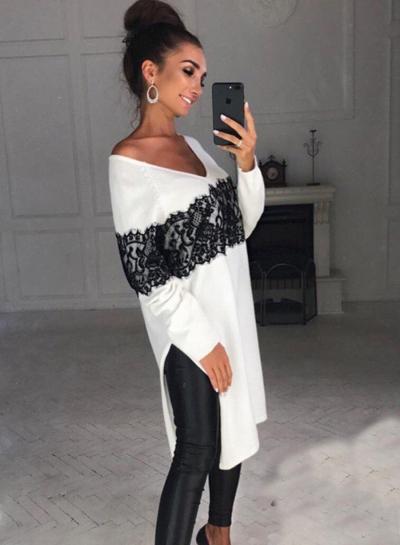 V Neck Long Sleeve Lace Side Slit Dress