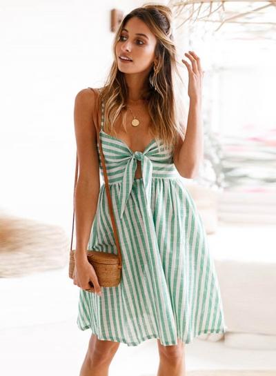 Fashion Spaghetti Strap Striped Mini Dress