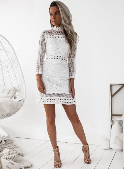 Long Sleeve Lace Bodycon Mini Dress