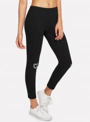 Fashion Cartoon Printed Slim Elastic Sports Leggings