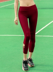 Cross Bandage Hollow out Yoga Leggings