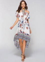Off Shoulder Floral High Low Dress