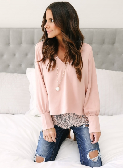 Fashion V Neck Long Sleeve Lace Splicing Blouse