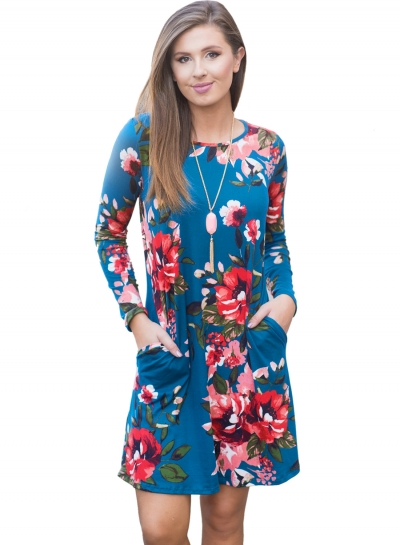 Long Sleeve Floral Dress with Pockets