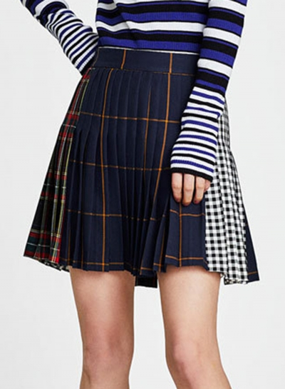 Casual Plaid Mini Pleated Skirt