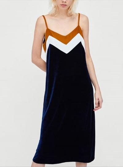 Fashion Spaghetti Strap Sleeveless Color Block Dress