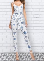 Fashion 2 Piece Snowflake Printed Pants Set