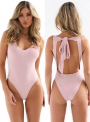 Fashion Bow Back Backless One Piece Swimsuit