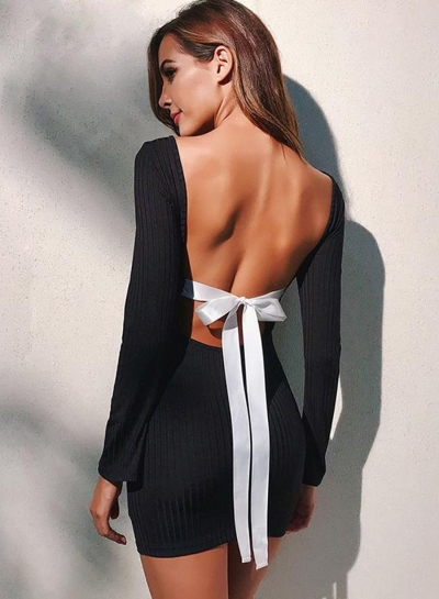 Fashion Long Sleeve Backless Bow Front Slim Dress