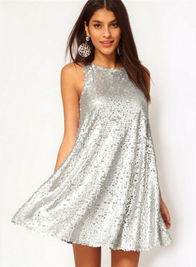 Fashion Sleeveless Sequin Mini Cocktail Dress