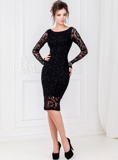 Fashion Long Sleeve Lace Slim Party Dress
