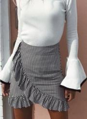 Fashion High Waist Flounce Mini Striped Skirt