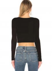 Fashion Long Sleeve Front Cut out Yoga Tee