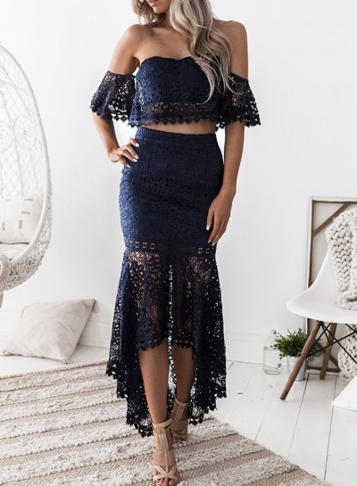 88d415082d3 Women's Fashion Crop Top Lace 2 Piece Mermaid Skirt Set Dress Outfit  stylesimo.com