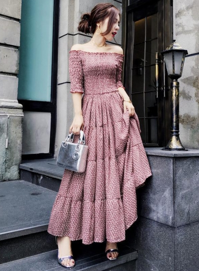 Off Shoulder Pleat Maxi Dress