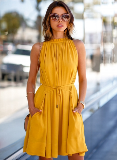 Fashion Solid Color Sleeveless Dress