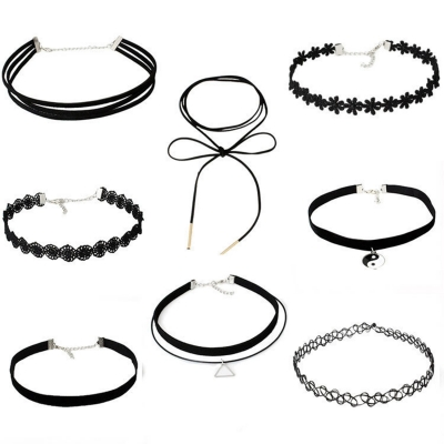 Women's Fashion Lace Choker Chain Necklaces Black Choker
