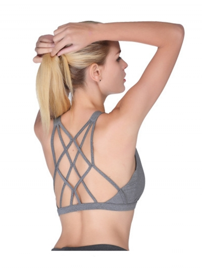 Strape Back Wireless Solid Color Yoga Bra