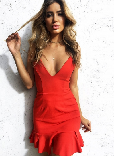 Fashion Spaghetti Strap Backless Flounce Dress