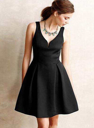 Fashion V Neck Sleeveless Backless A-line Dress