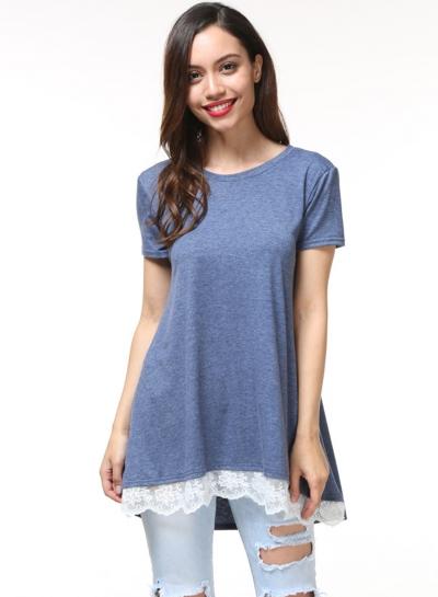 Round Neck Short Sleeve Stitching Lace Tee