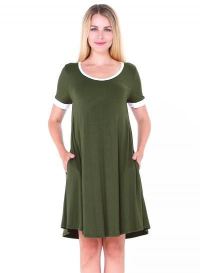 Fashion Short Sleeve Splicing Stretch Dress