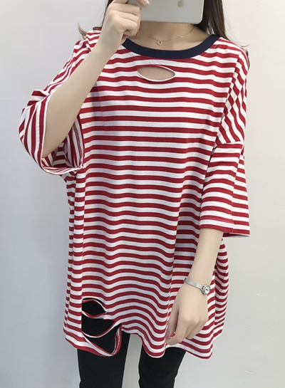 Round Neck Hole Striped Printed T-shirt Dress