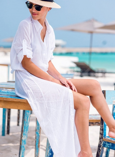 Shirt Dress Long Sleeve Buttons Open Front Bikini Cover-ups