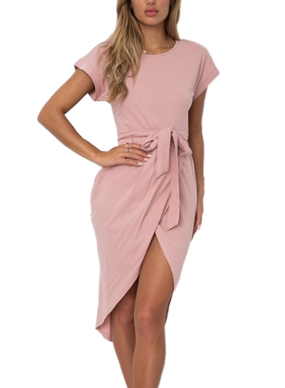 Fashion Round Neck Slit Irregular Dress with Belt