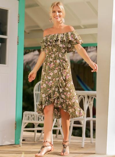 Slash Neck Off Shoulder Flounce Floral Printed Dress