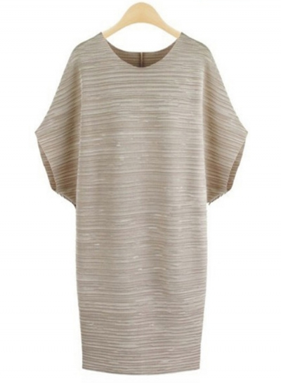 Ruffle Round Neck Plus Size Day Dress