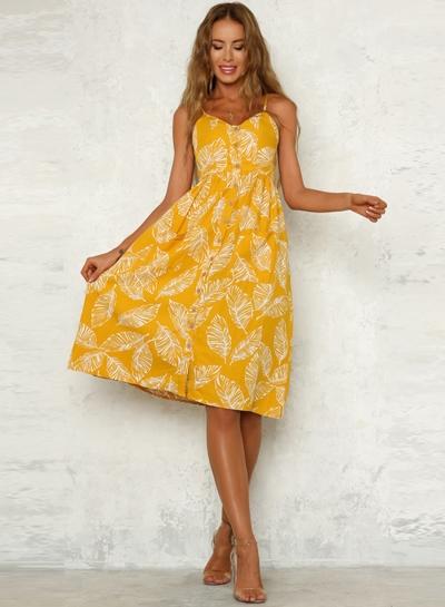 V Neck Floral Printed  Dress