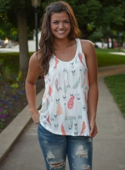 Printed Round Neck Tank Top