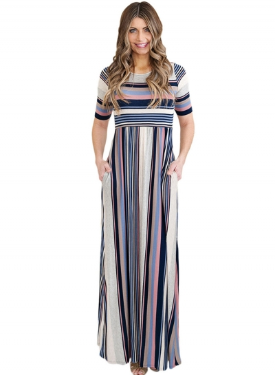 Fashion Round Neck Half Sleeve Striped Printed Maxi Dress