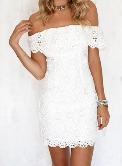 Fashion Slash Neck Cut out Lace Day Dress