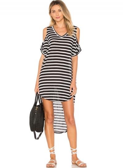Off the Shoulder Striped Irregular Day Dress