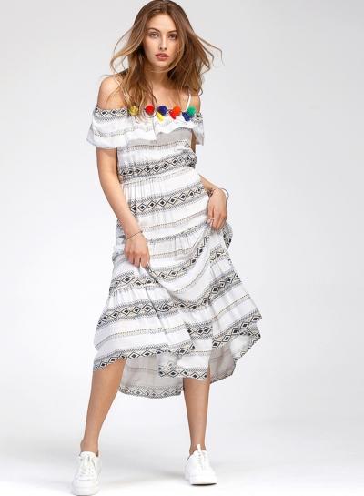 Bohemian Slash Neck Flounce Day Dress