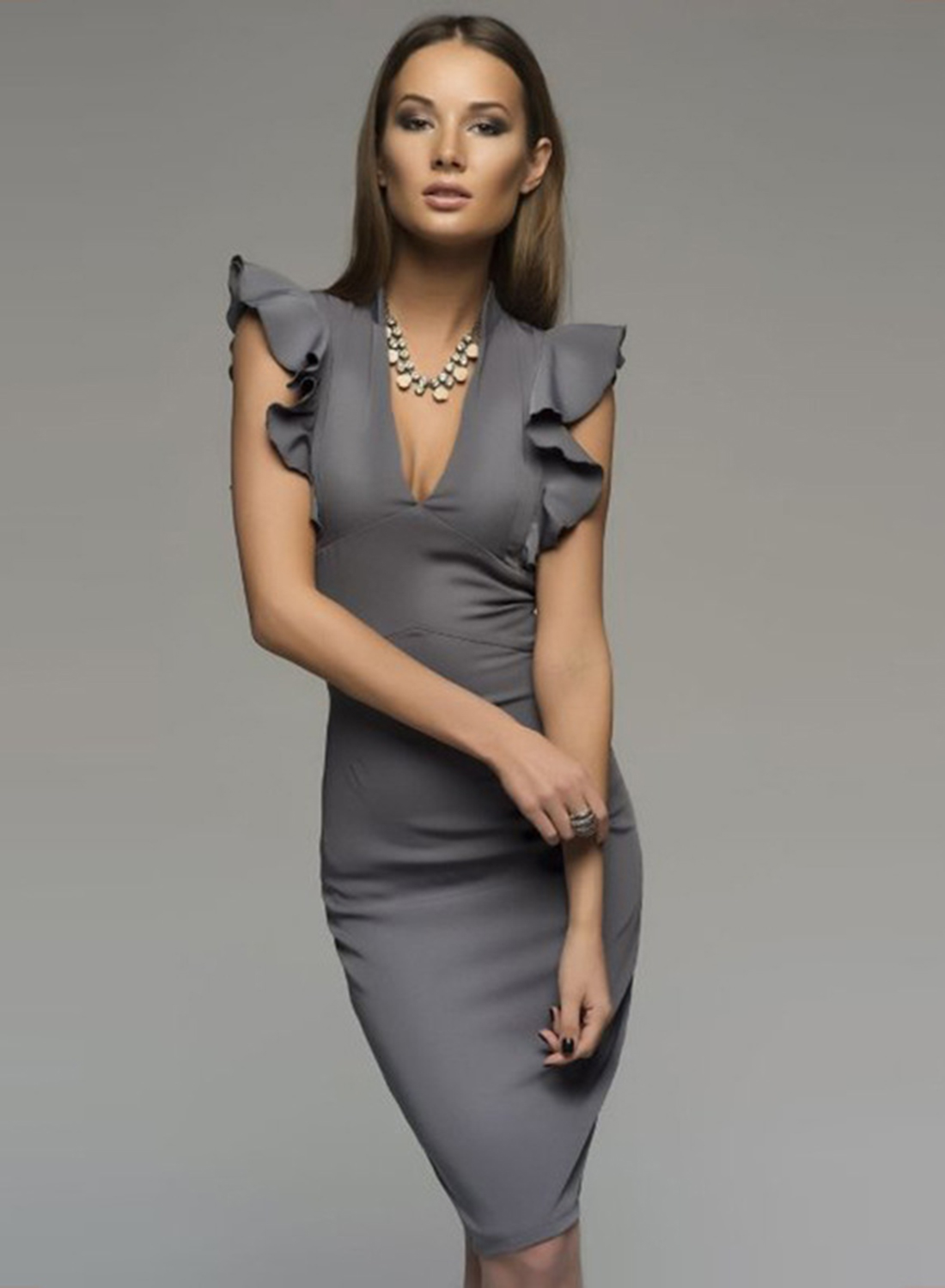 d04f8fa9ffab Fashion Deep V Neck Flounce Sleeve Bodycon Dress - STYLESIMO.com