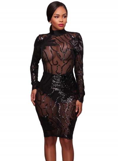Sequins High Neck Transparent Bodycon Dress