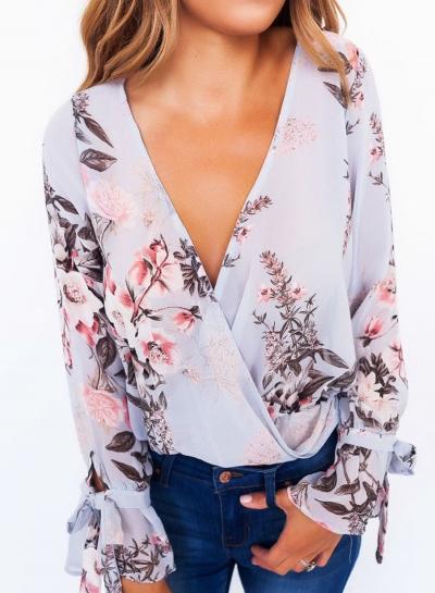 V Neck Long Sleeve Floral Printed Blouse