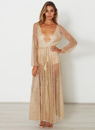 Deep V Neck Long Sleeve Sequins Maxi Dress